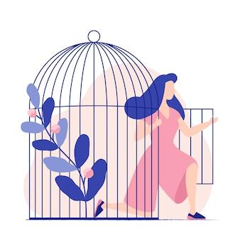 Donna nella gabbia. la donna esce dalla gabbia per uccelli. la donna diventa libera la libertà. piatto colorato illustrazione vettoriale.