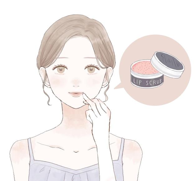 Donna che si prende cura delle labbra con lo scrub per le labbra. su uno sfondo bianco.