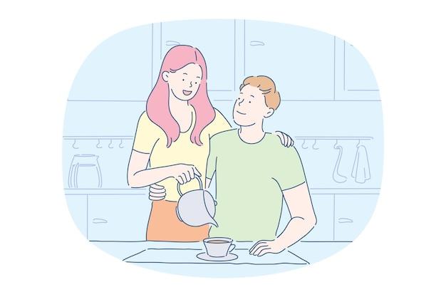 Personaggio dei cartoni animati di donna versando tè caldo dalla teiera alla tazza