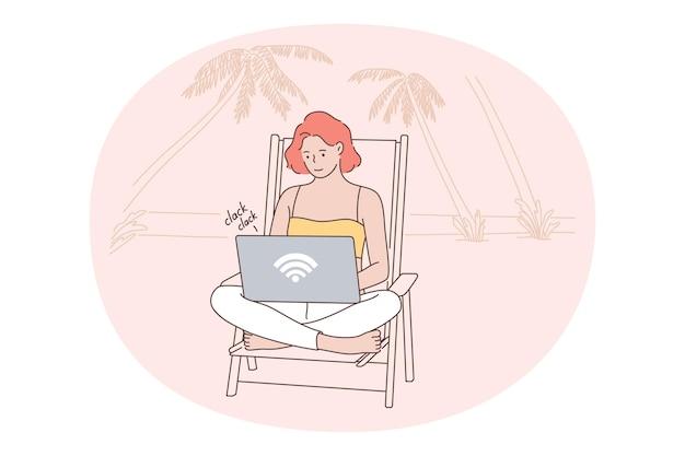 Personaggio dei cartoni animati di donna che si siede sulla spiaggia con il computer portatile