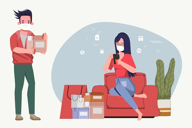 Il personaggio dei cartoni animati della donna resta a casa e lo shopping consegna online spedizione gratuita. ordinazione sul cellulare allo scoppio covid-19. concetto di allontanamento sociale nuovo stile di vita normale.