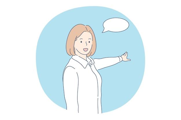 Personaggio dei cartoni animati di donna che dice qualcosa con la bolla