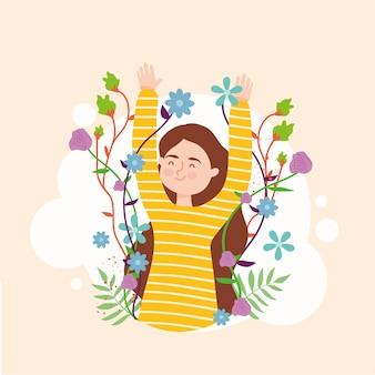 Fumetto della donna con il disegno dei fiori, illustrazione di tema dei media sociali e umani della gente della persona femminile della ragazza