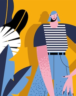 Fumetto della donna con la maglietta a strisce sul disegno del fondo delle foglie, illustrazione di tema umano e sociale della gente della persona femminile della ragazza