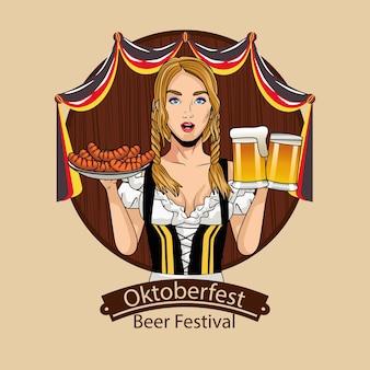 Fumetto della donna con design di bicchieri da birra e salsicce di stoffa tradizionale, tema festival e celebrazione dell'oktoberfest in germania