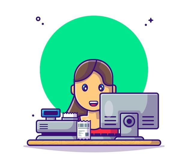Cassiera donna con registratore di cassa al bancone cartoon