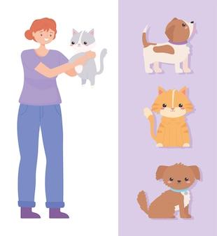 Animali domestici del gatto della donna