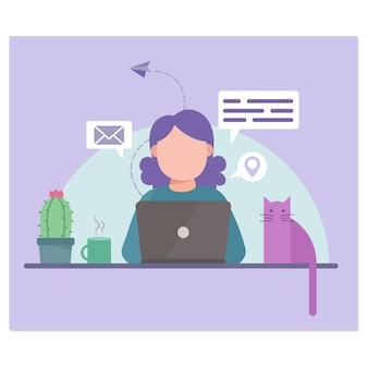 Donna e gatto che lavorano in ufficio in linea con cactus e laptop