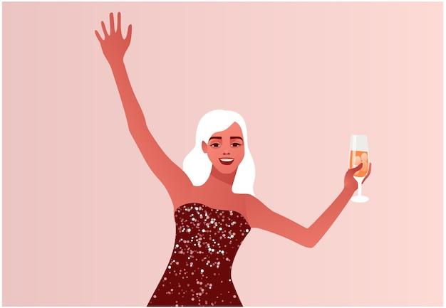 Donna che celebra capodanno o natale una ragazza in un abito da festa scintillante illustrazione colorata in stile piatto moderno