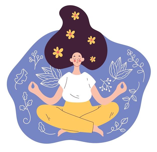 Personaggio della donna che si siede nella posizione del loto e illustrazione dell'elemento di design piatto rilassante
