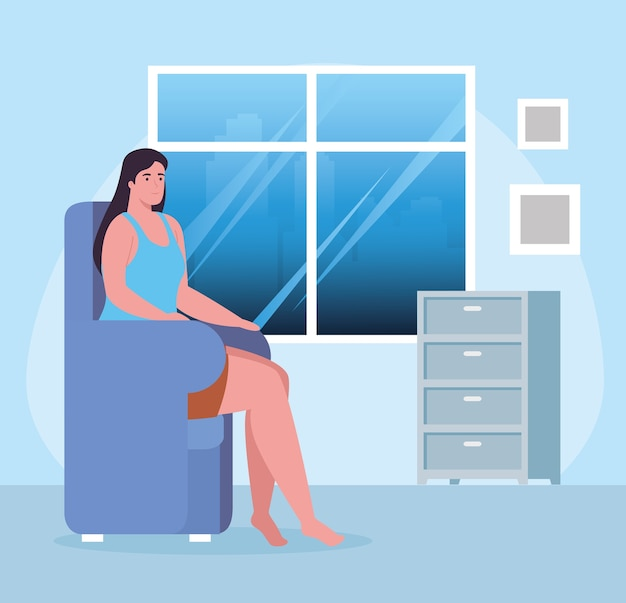 Donna sulla sedia a casa design di attività e tempo libero