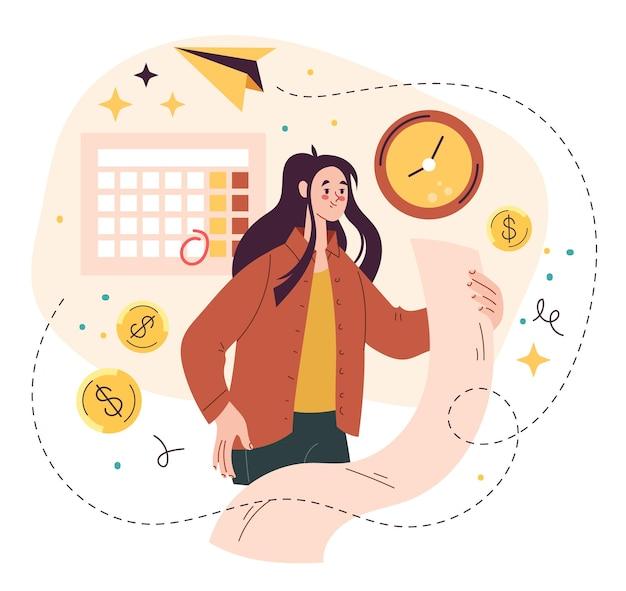 Carattere della donna che analizza l'illustrazione piana di vettore del bilancio
