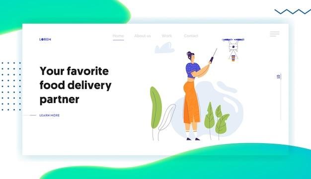 Drone volante personaggio donna con pagina di destinazione telecomando