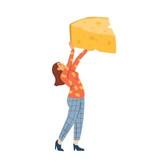 Carattere della donna che tiene l'illustrazione piana di vettore del pezzo enorme di formaggio isolata
