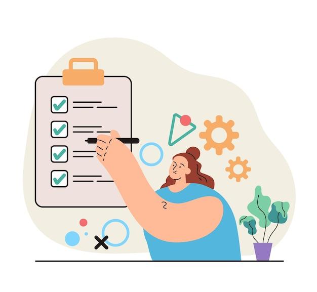 Personaggio femminile che tiene la matita in mano e mette il segno di spunta verde a bordo per fare la lista dell'organizzatore personale Vettore Premium