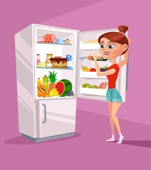 Carattere della donna vicino al frigorifero pensando a cosa mangiare. cartone animato