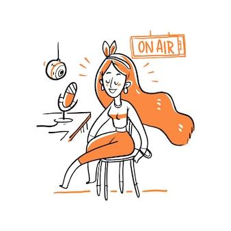 Carattere della donna sull'illustrazione radiofonica dello studio Vettore Premium