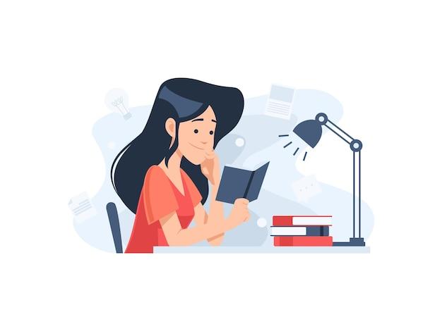 Personaggio di donna che legge un'illustrazione del concetto di libro in design piatto