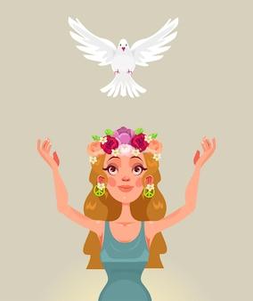 Il personaggio della donna rilascia la colomba del mondo.