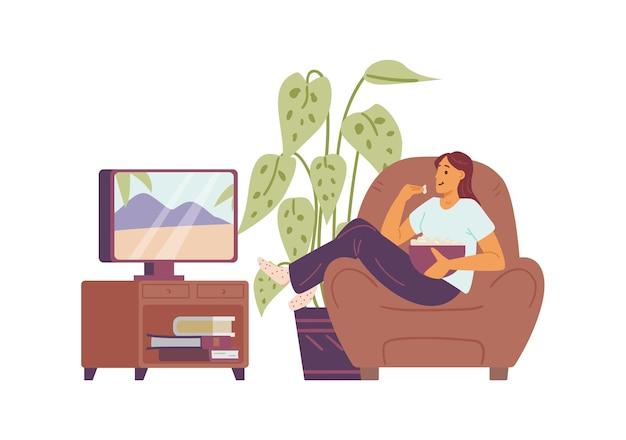 Carattere della donna che riposa dietro la tv a casa piatta illustrazione vettoriale isolata