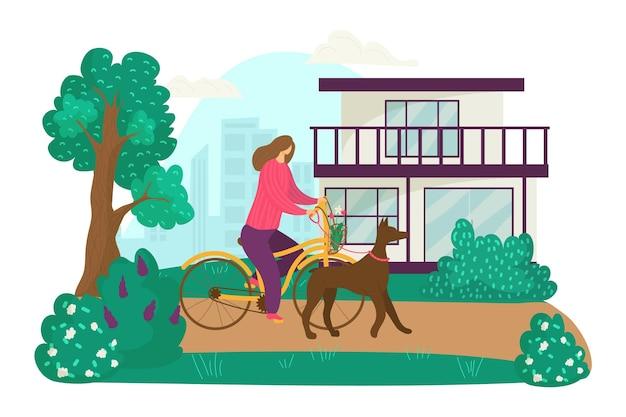 Il personaggio della donna va in bicicletta e cammina con una femmina di cane animale domestico passeggia all'aperto piatto vettoriale...