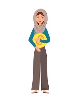 Carattere della donna in una sciarpa con l'icona del dollaro su fondo bianco. illustrazione.