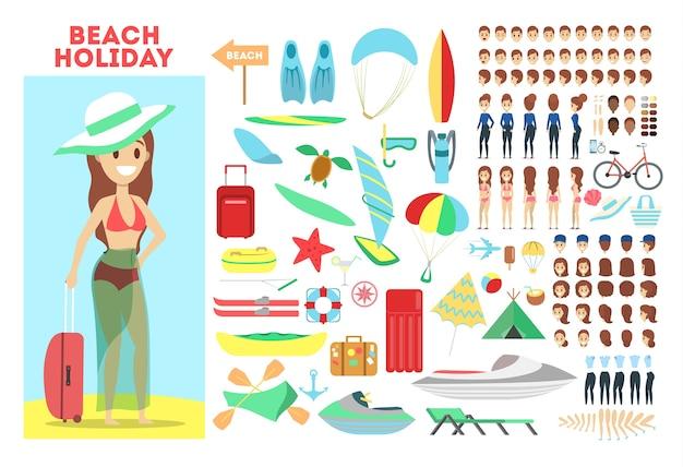 Set di caratteri donna per l'animazione con varie viste