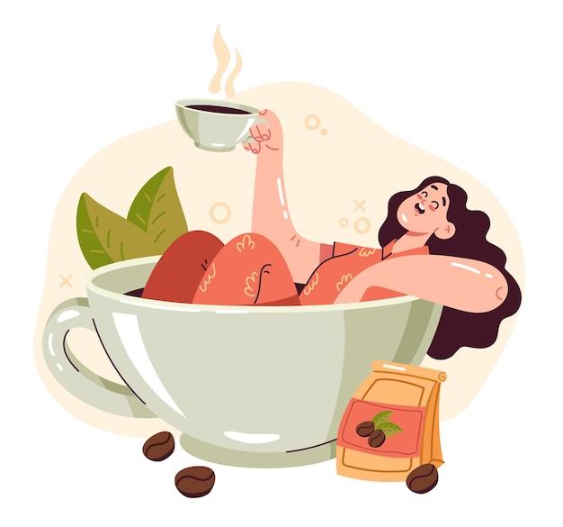 Personaggio di donna seduta in una grande tazza da caffè al mattino e in carica