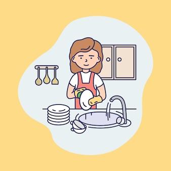 Carattere della donna in uniforme lavare i piatti in cucina