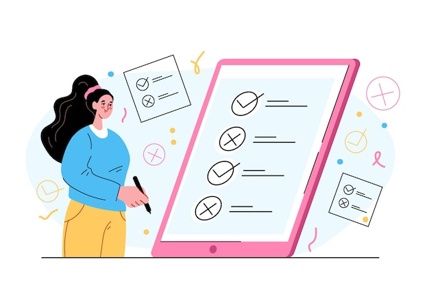 Carattere di donna che vota e tira croce e spessa nell'elenco delle caselle concetto di voto su internet digitale online illustrazione di stile moderno isolato piatto vettoriale