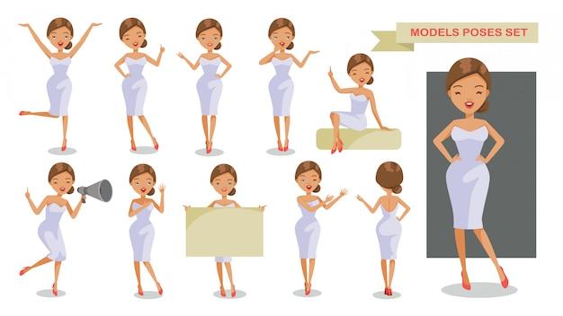 Set di posture di personaggi di donna. Vettore Premium