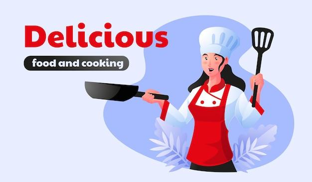 Lo chef donna sta cucinando cibo delizioso