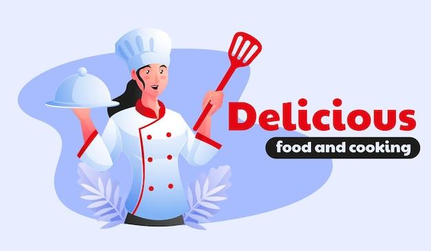 Lo chef donna serve cibo delizioso