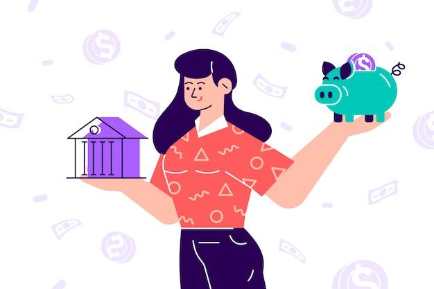 Donna che sceglie tra banca e salvadanaio. clipart isolato concetto di pianificazione del bilancio. investimenti e finanziamenti per il risparmio di denaro. prestito bancario e scelta economica. alfabetizzazione finanziaria. illustrazione piatta.