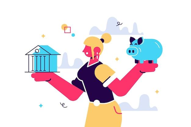 Donna che sceglie tra banca e illustrazione piatta salvadanaio. concetto di pianificazione del budget isolato clipart. risparmio di denaro, investimento e finanziamento. prestito bancario e scelta economica. alfabetizzazione finanziaria.