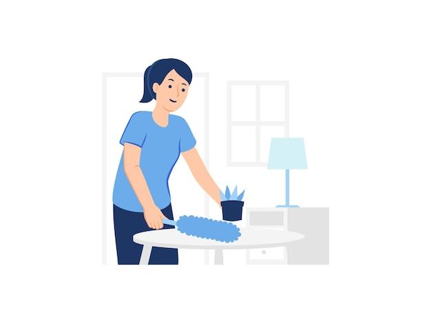 Donna che pulisce lo scrittorio e la mobilia interna della casa usando l'illustrazione di concetto dello spolverino