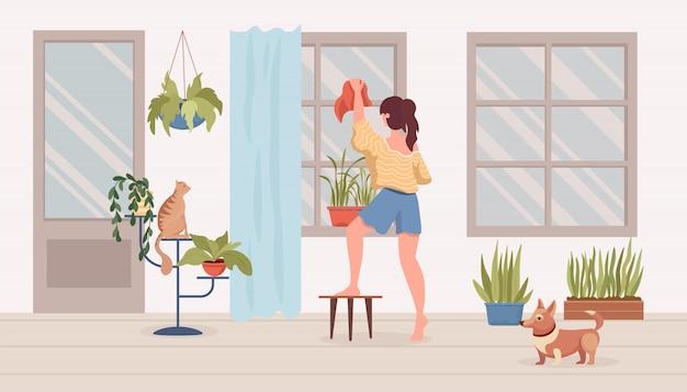 La donna pulisce l'illustrazione piana del fumetto della stanza o del balcone. interni moderni, piante da appartamento, cane e gatto.