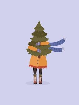 Una donna con un cappotto tiene in mano un albero di natale. design di capodanno o natale.