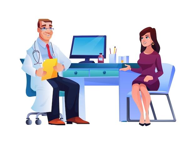 Donna su consultazione del medico di base