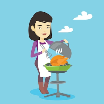 Donna che cucina pollo sulla griglia del barbecue.