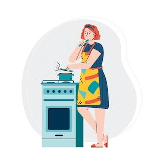 Donna che cucina il cibo sul fumetto della stufa di cucina