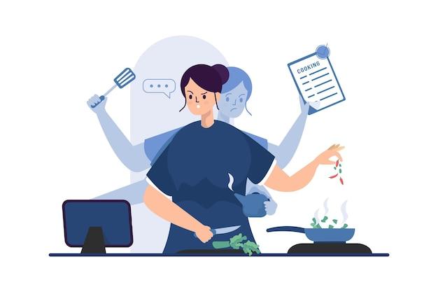 Una donna che cucina con il concetto di illustrazione multitasking