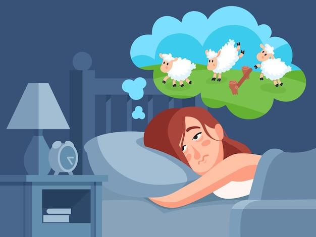 La donna conta le pecore per dormire. Vettore Premium