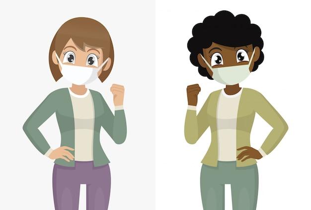 Fronte della copertura della donna con la mascherina medica