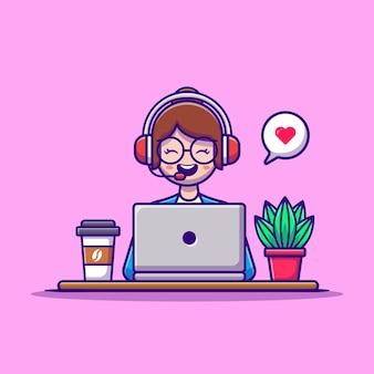 Servizio di assistenza al cliente della donna che lavora al computer portatile con la cuffia. persone tecnologia concetto vettore isolato. stile cartone animato piatto