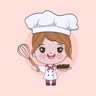 Lo chef carino donna sta cucinando il carattere. illustrazione disegnata a mano.