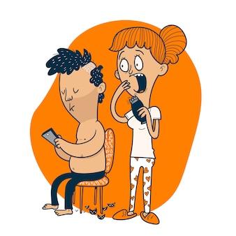 La donna taglia i capelli di suo marito a casa