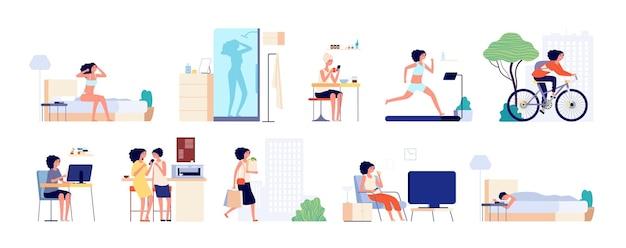 Routine quotidiana della donna. giornata in carriera, vita di città della ragazza. colazione femminile, sonno e lavoro
