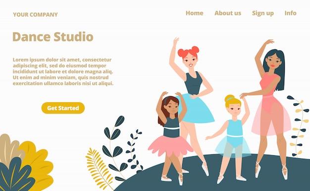 Pagina web di atterraggio dello studio di ballo della donna, illustrazione del fumetto del modello del sito web dell'insegna di concetto. pagina del sito web dell'azienda, laboratorio femminile.