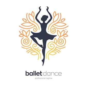 Modello di logo di donna che balla